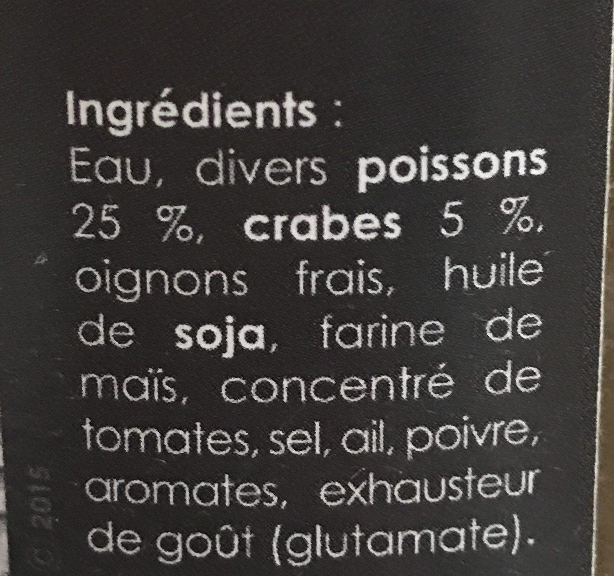 Soupe de poissons aux crabes - Ingrédients - fr