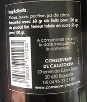 Confiture de Mûres - Ingredienti - fr