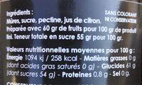 Confiture de Mûres - Informazioni nutrizionali - fr