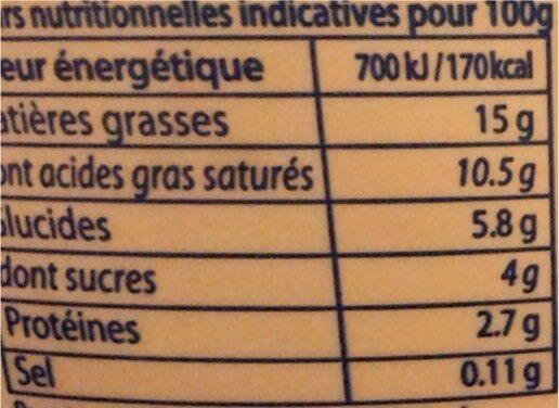 Crème Épaisse - Informations nutritionnelles - fr