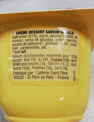 Crème Dessert Vanille - Nutrition facts - fr