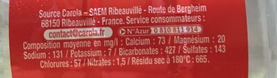 CAROLA Rouge Fortement Pétillante PET 50cl - Ingrédients