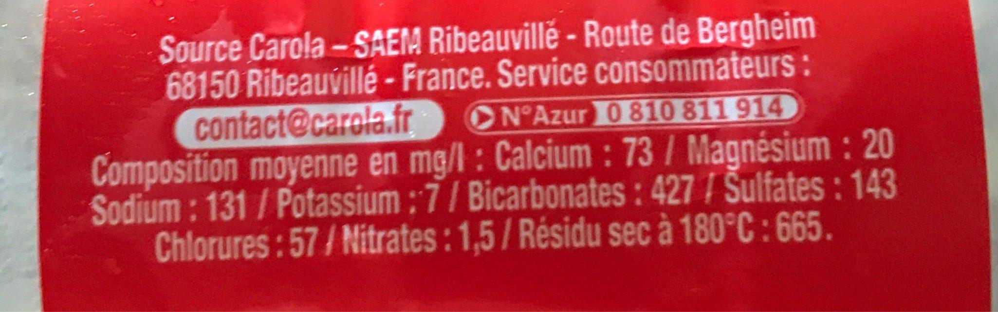 CAROLA Rouge Fortement Pétillante PET 50cl - Informations nutritionnelles