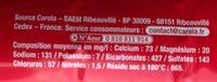 Eau Pétillante - Informations nutritionnelles