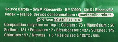 Eau de source finement Pétillante - Informations nutritionnelles - fr