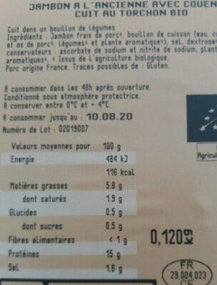Jambon à l'ancienne - Informations nutritionnelles - fr