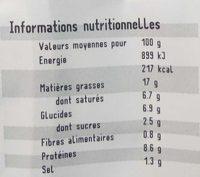 Boudin blanc à l'ancienne aux pruneaux - Informations nutritionnelles - fr
