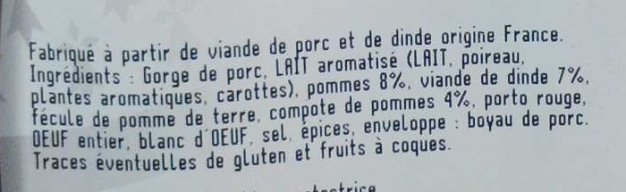 Boudin blanc à l'ancienne aux pommes 8 % - Ingrédients - fr