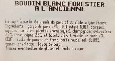 Boudin blanc forestier à l'ancienne - Ingrédients - fr