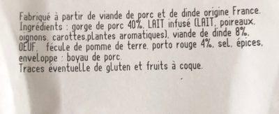 Boudin blanc nature à l'ancienne - Ingrédients - fr