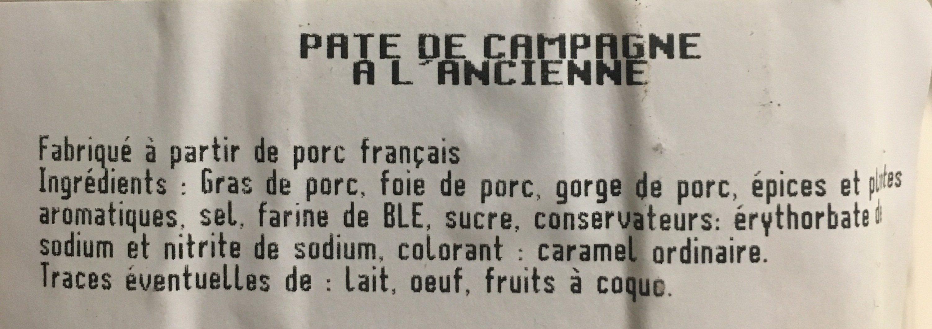 220G Petit Pate Bois Campagne Tallec - Ingrédients - fr