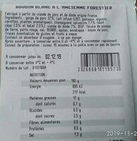 Boudin blanc à l'ancienne forestier - Informations nutritionnelles - fr