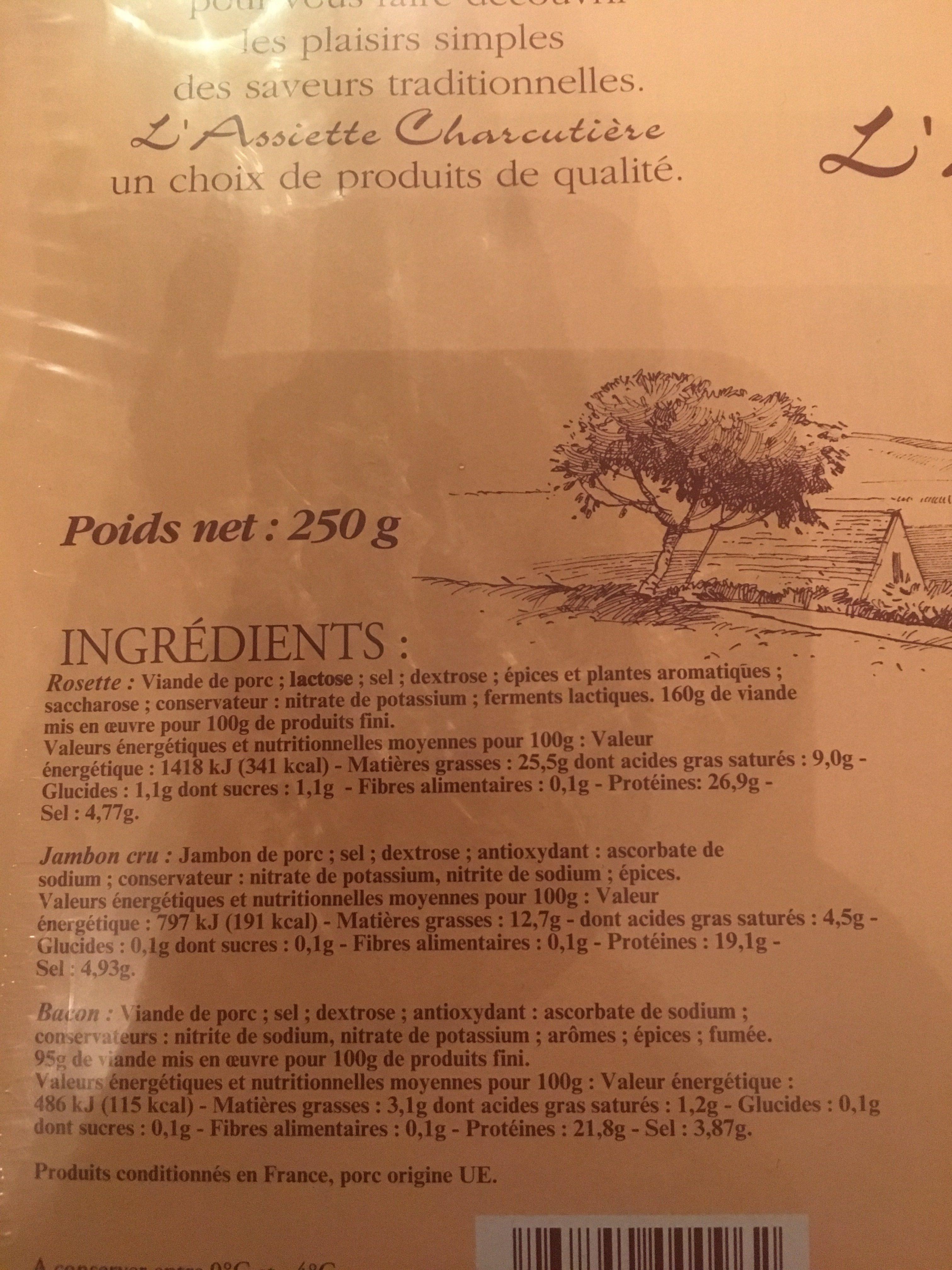 Assiette charcutiere rosette bacon jambon sec - Ingrédients - fr