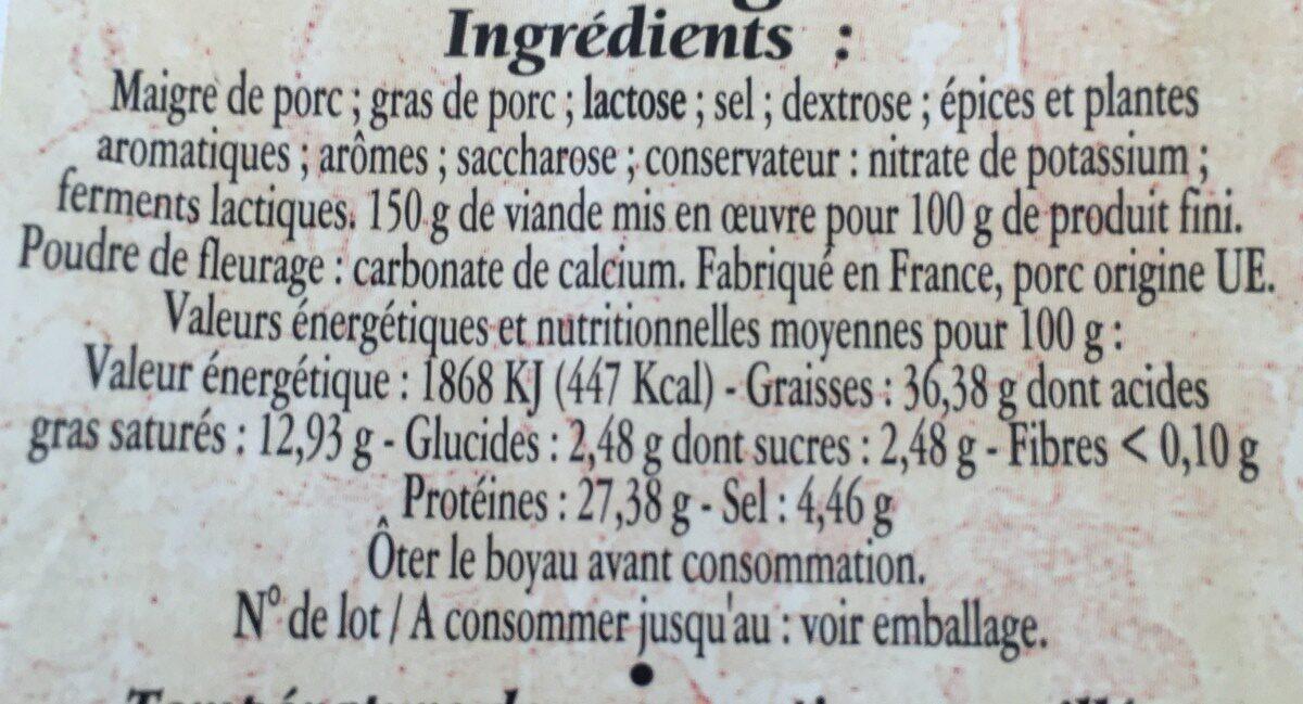 Saucisse sèche pur porc - Ingrédients - fr