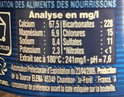 Eau Cristalline - Nutrition facts