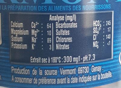 Eau Cristalline - Nutrition facts - fr