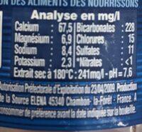 Cristaline Eau de source - Informations nutritionnelles - fr