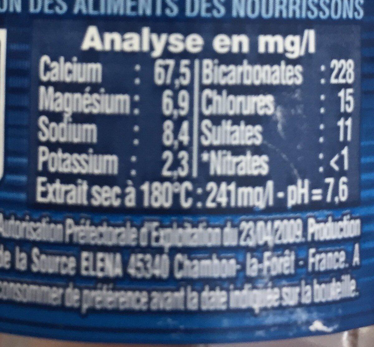 Cristaline Eau de source - Valori nutrizionali - fr