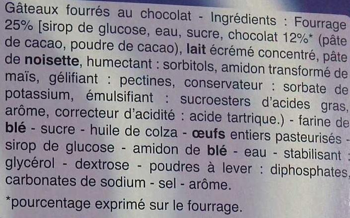 14 mini-gâteaux Fourrés Chocolat - Ingrédients