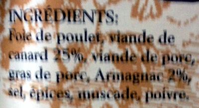Terrine de canard à l'Armagnac - Ingredients - fr