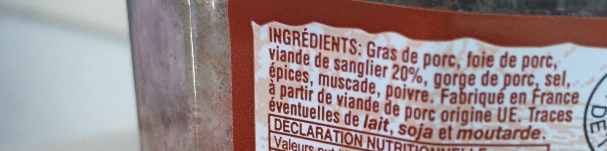Terrine de sanglier - Ingrédients - fr