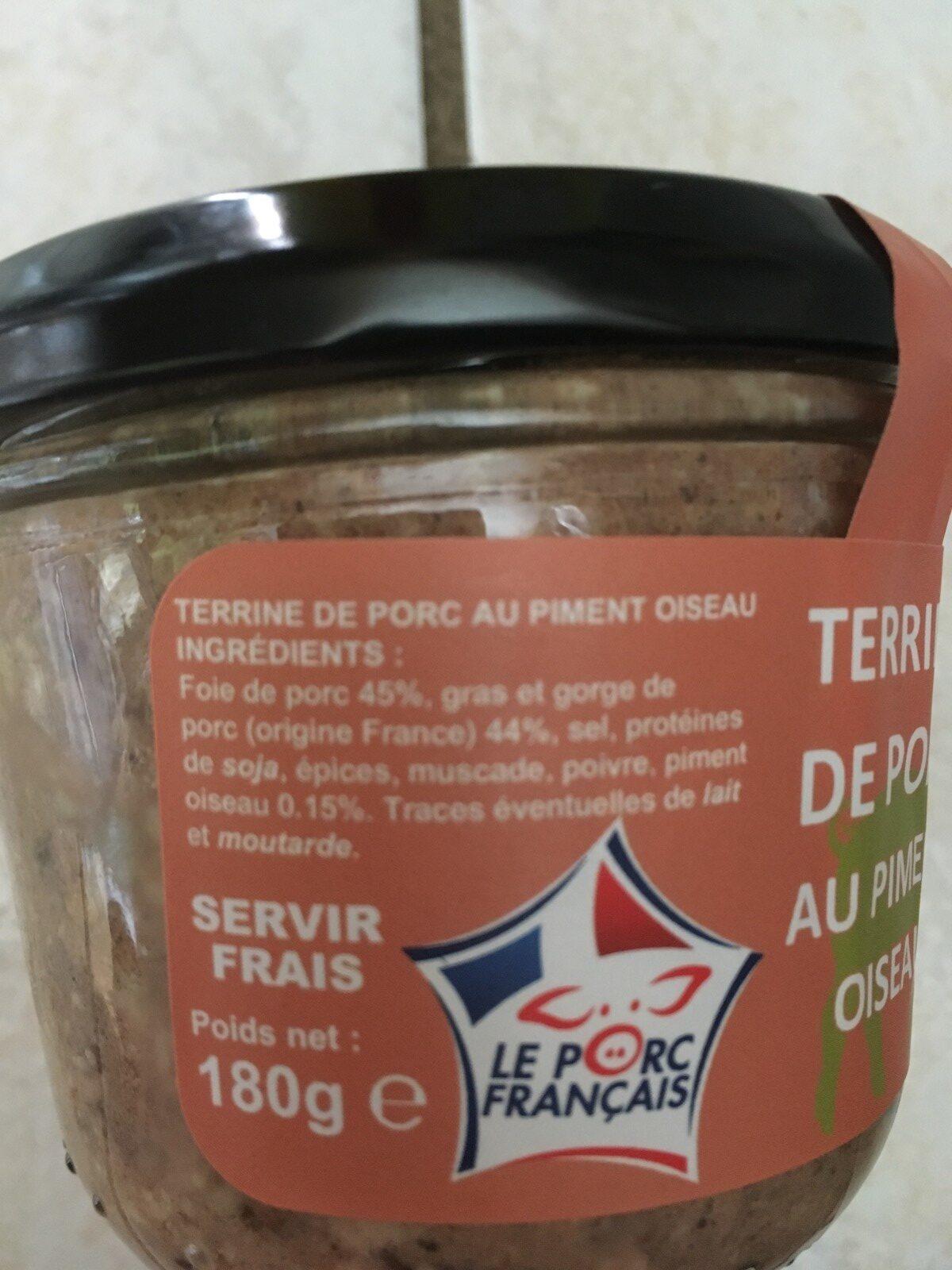 Terrine de porc au piment oiseau - Ingredients
