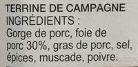 Terrine de Campagne - Ingrédients