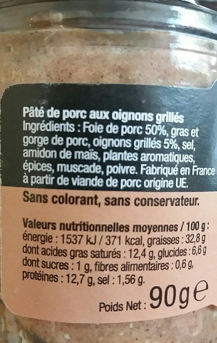 Pâté de Porc aux oignons grillés - Ingrediënten