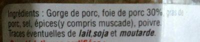 Terrine de campagne - Ingredients - fr