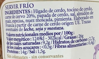 Paté de ciervo Belesa - Ingrédients - es