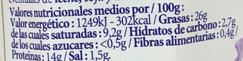 Paté de ciervo Belesa - Informations nutritionnelles - es