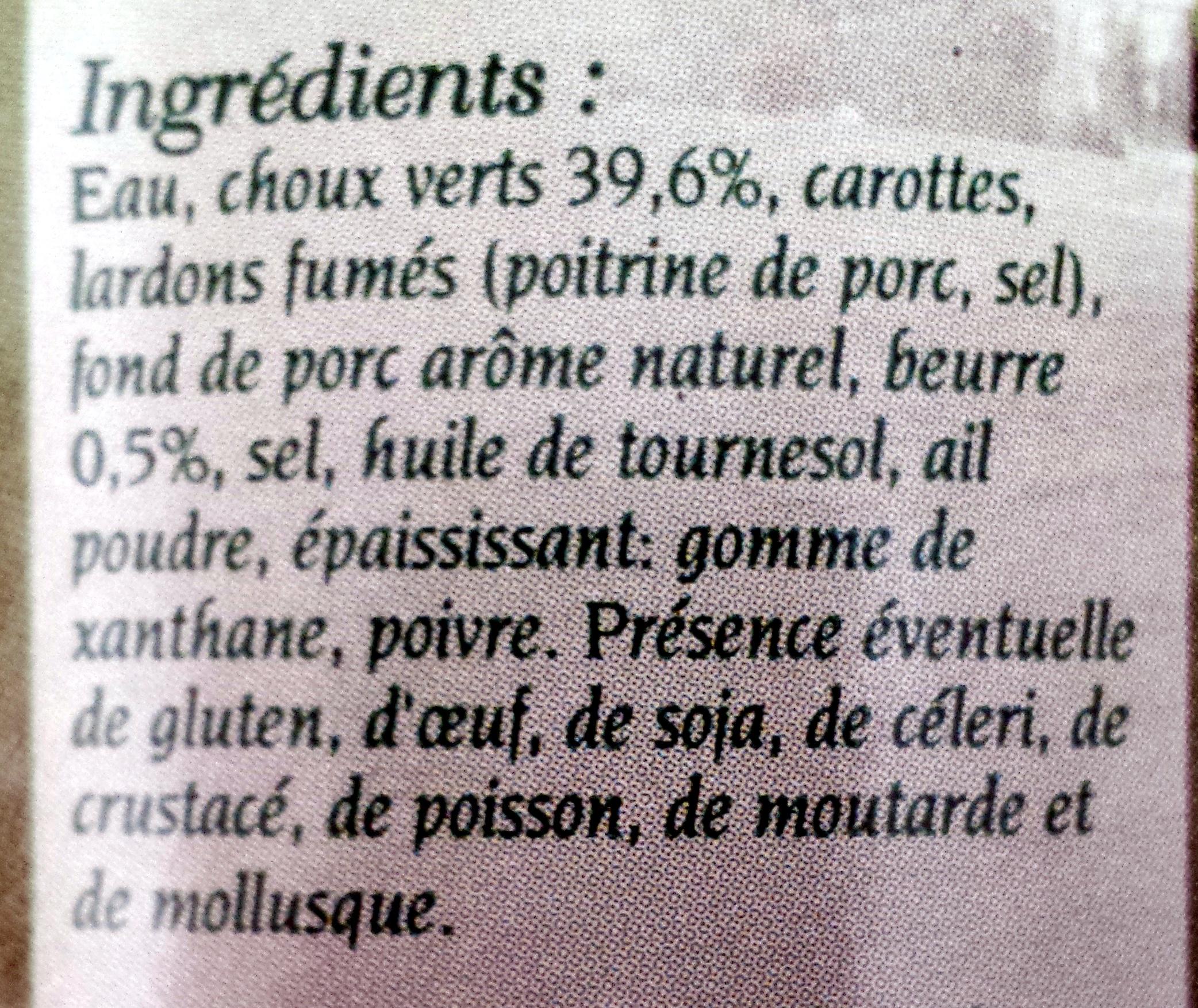 Embeurrée de choux à la Vendeenne - Ingrédients