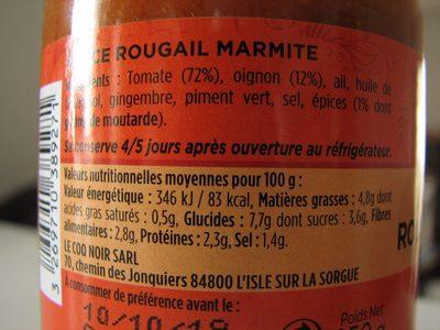 Sauce Rougail Marmite - Ingrédients - fr