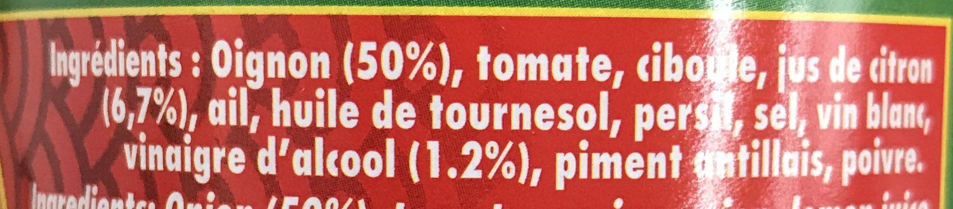 Sauce créole - Ingrédients