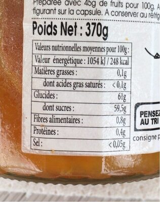Confiture extra clémentine Corse - Nutrition facts - fr