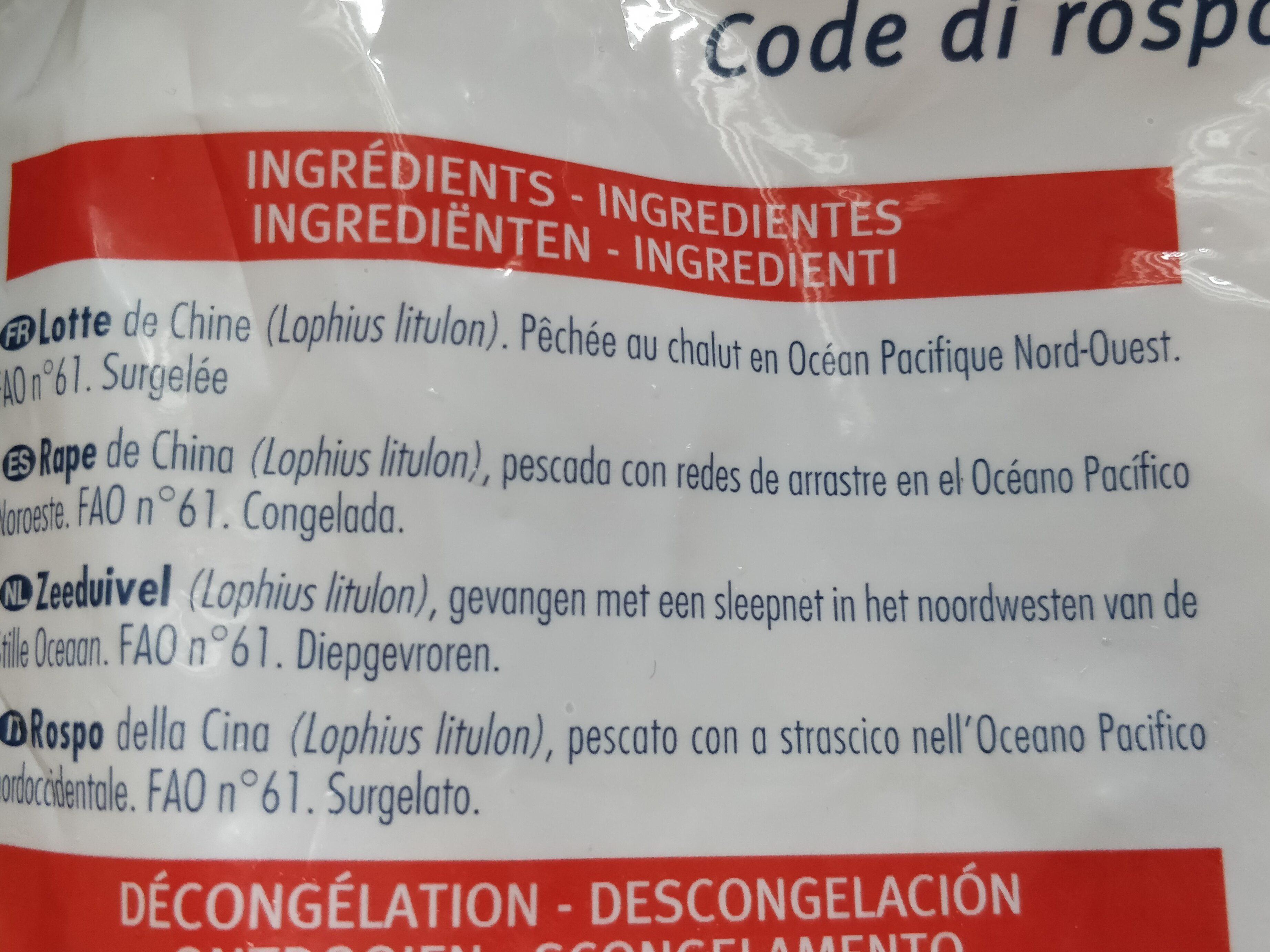 Queues de lotte de Chine - Ingrédients