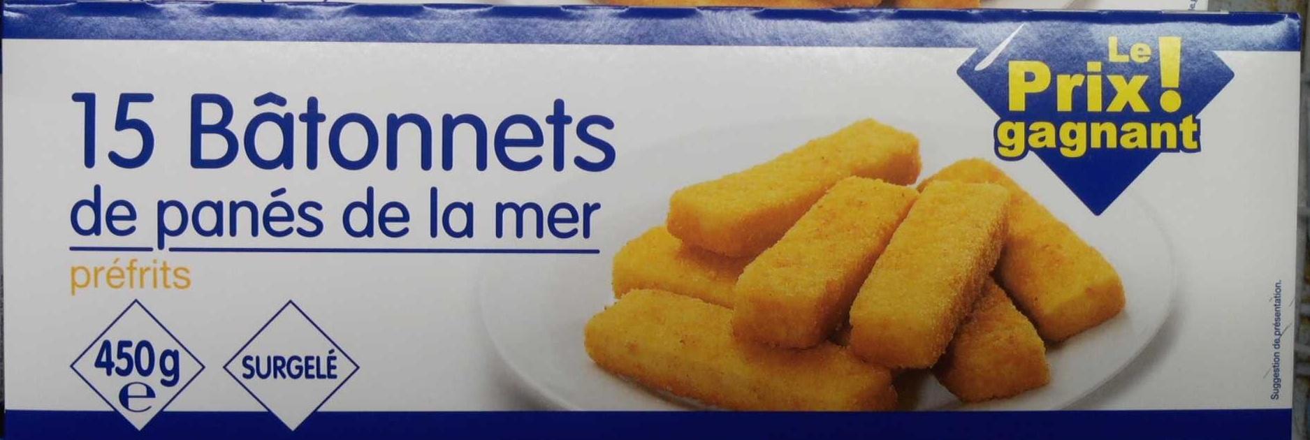 15 Bâtonnets de panés de la mer préfrits, Surgelé - Product - fr
