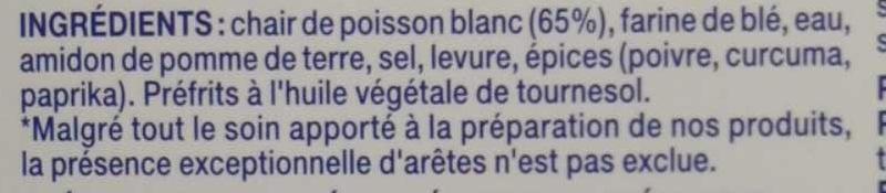 15 Bâtonnets de panés de la mer préfrits, Surgelé - Ingrediënten - fr