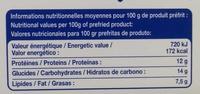 15 Bâtonnets de panés de la mer préfrits, Surgelé - Voedingswaarden - fr