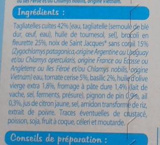 Tagliatelles sauce pesto et noix de Saint Jacques*, Surgelé - Ingrédients
