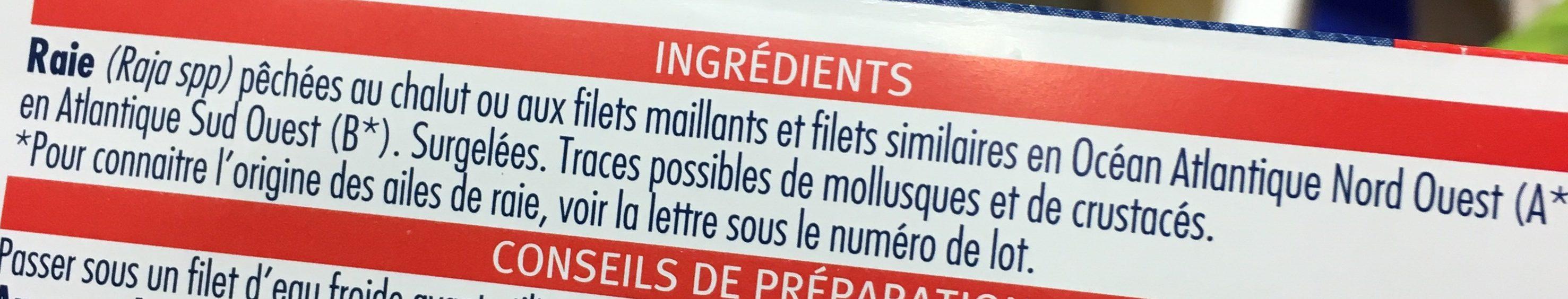 Ailes de raies pelees - Ingrédients - fr