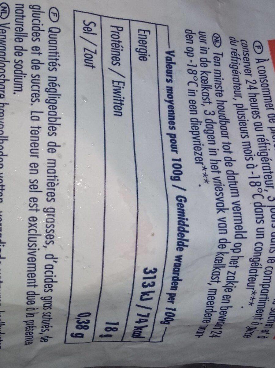 Ailes de raies pelees - Informations nutritionnelles - fr