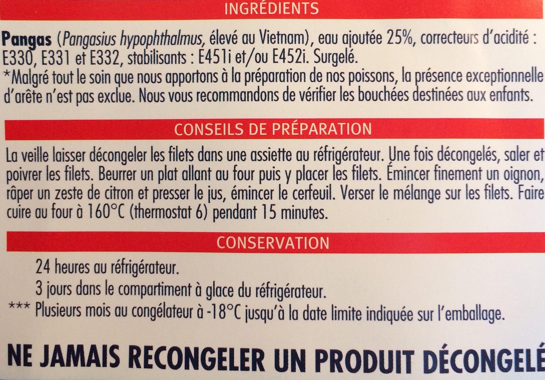 Filets de pangas - Ingrediënten - fr
