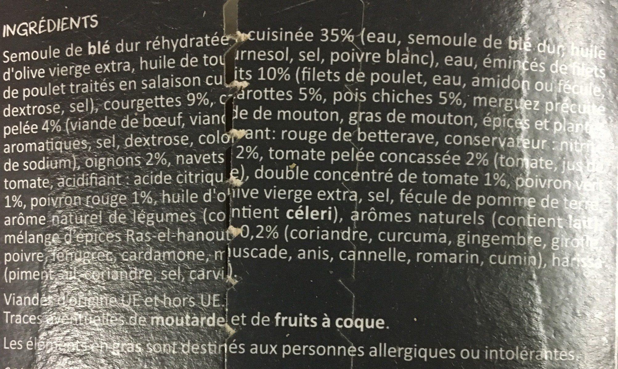 Couscous - Ingrédients
