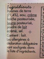 Purée de pomme de terre cuisinee - Ingrédients