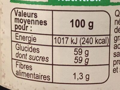 Confiture de myrtilles au sucre de canne - Valori nutrizionali - fr