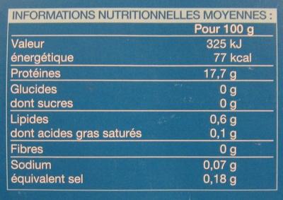 4 Tranches de filet de Cabillaud - Informations nutritionnelles