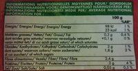 Choux-fleurs en Fleurettes - Informations nutritionnelles