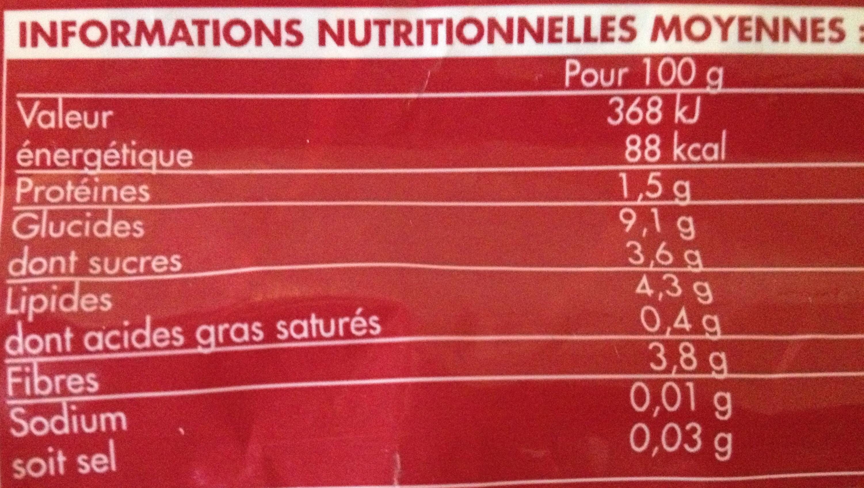 Échalote coupée, Surgelée - Informations nutritionnelles - fr