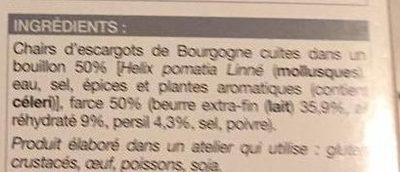 12 Escargots de Bourgogne Moyen - surgelés 70 g - Ingredients